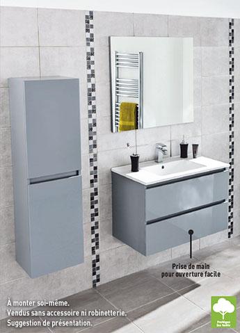 Meuble, plan vasque L.81,5 cm, miroir et colonne