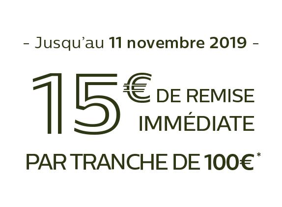 15€ offerts par tranche de 100€ d'achat*